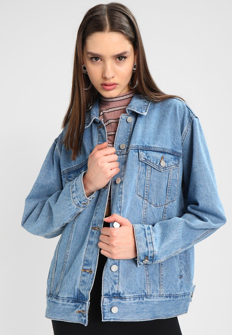 Missguided - OVERSIZED JACKET - Denim jacket - stonewash
