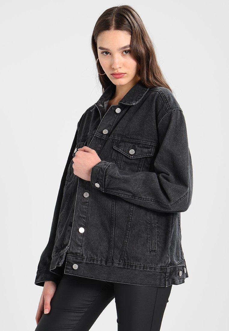 Missguided - OVERSIZED JACKET - Denim jacket - black