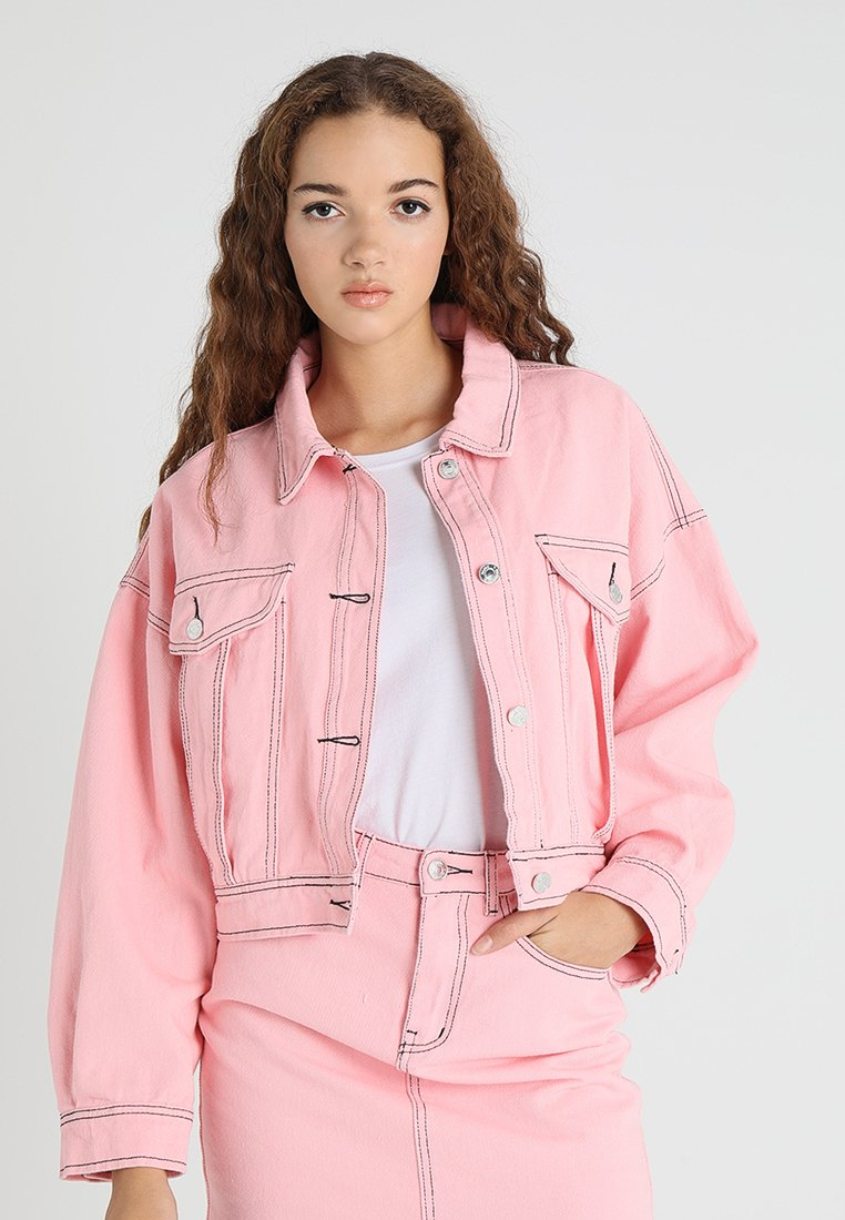 Missguided - CONTRAST STITCH CROPPED BOXY JACKET - Jeansjacka - pink