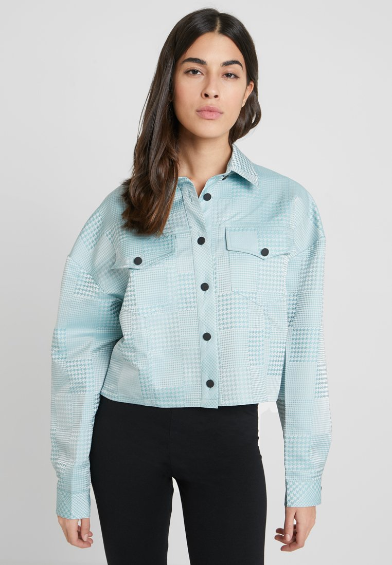 Missguided - CHECK DOGTOOTH JACKET - Summer jacket - turquoise