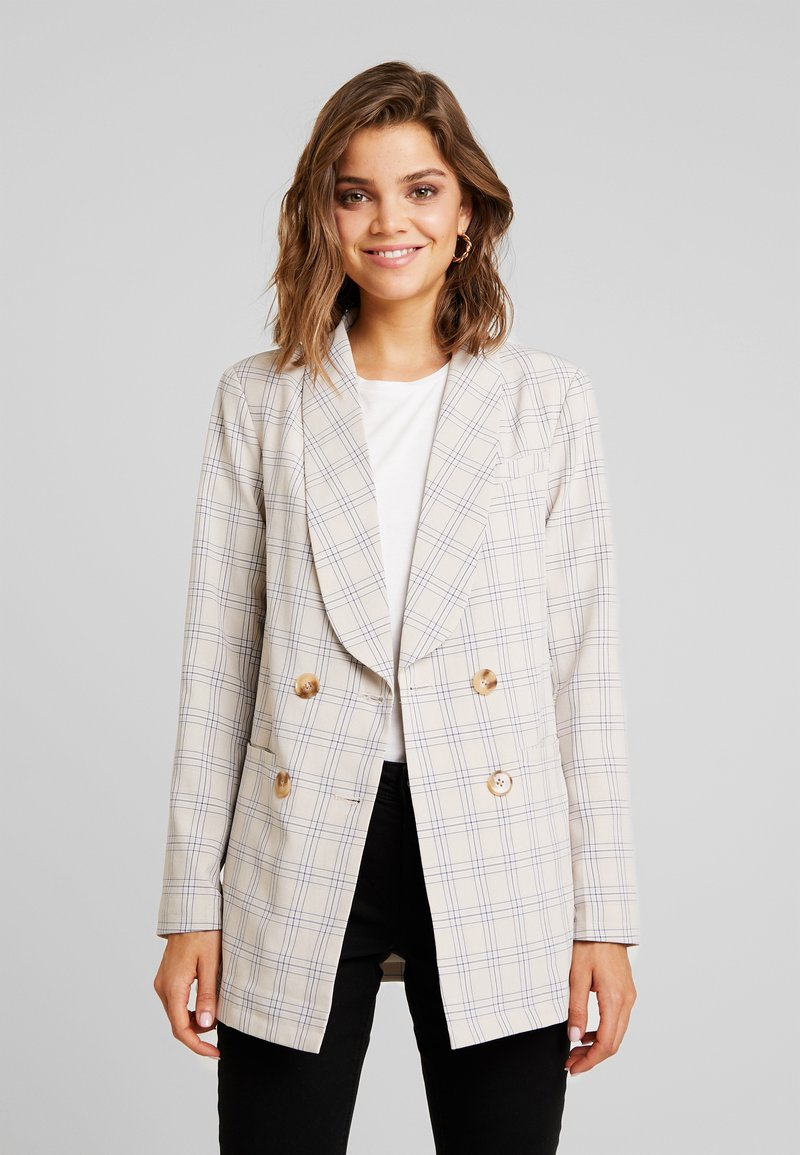Missguided - CHECK LONGLINE - Blazer - cream