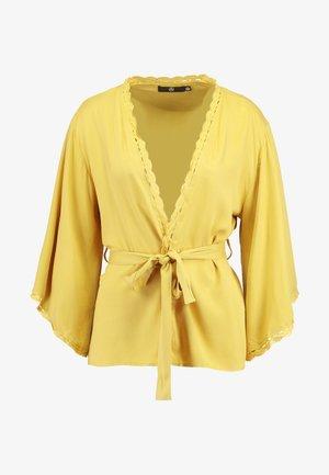 CROCHET TRIM KIMONO - Summer jacket - mustard