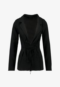 Missguided - TIE UP FRONT LONGLINE - Blazer - black - 4