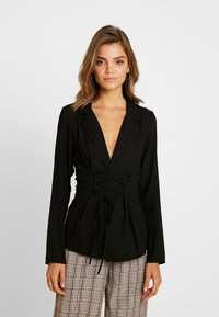 Missguided - TIE UP FRONT LONGLINE - Blazer - black - 0