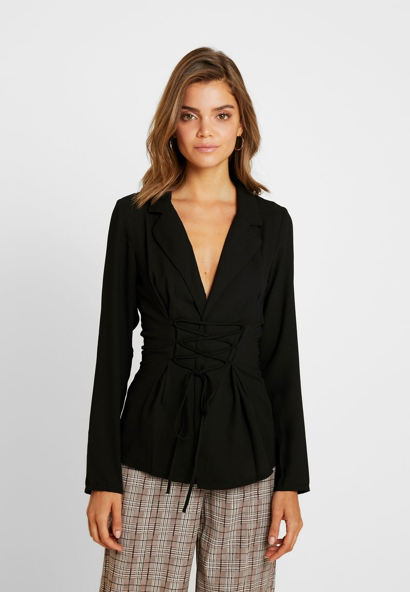 Missguided - TIE UP FRONT LONGLINE - Blazer - black
