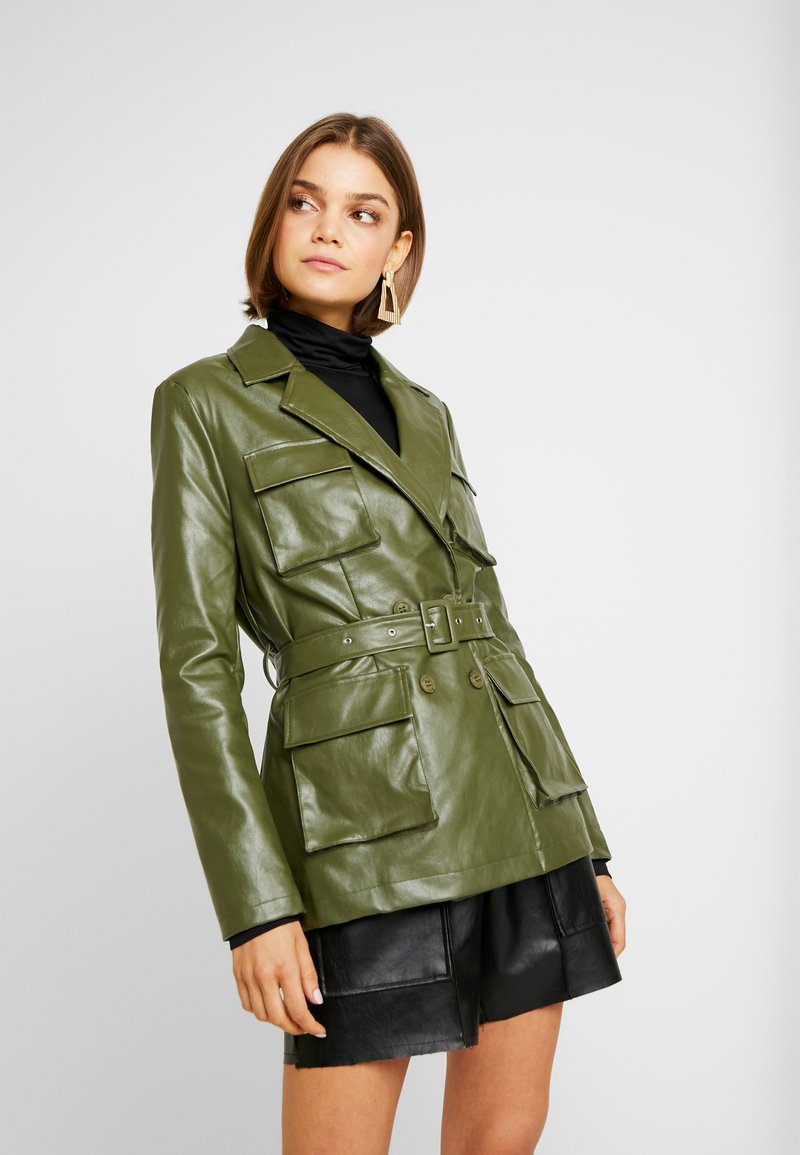 Missguided - UTILITY POCKET - Faux leather jacket - deep green