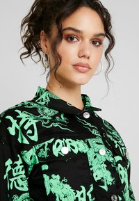 Missguided - DRAGON PRINT STRETCH CROPPED JACKET - Jeansjacka - neon green - 4