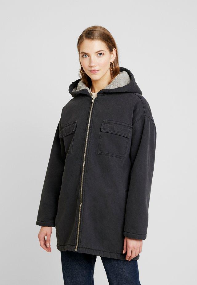 BORG LINED HOODED PARKER - Short coat - washed black