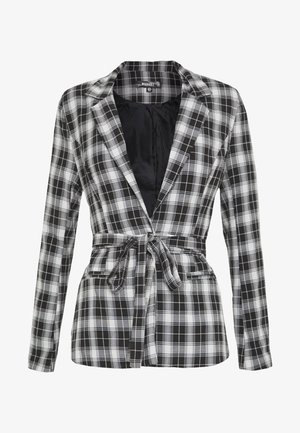 CHECK SUPER TIE WAIST - Blazer - black