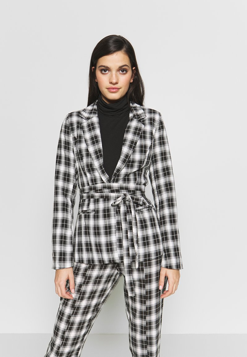 Missguided - CHECK SUPER TIE WAIST - Blazer - black