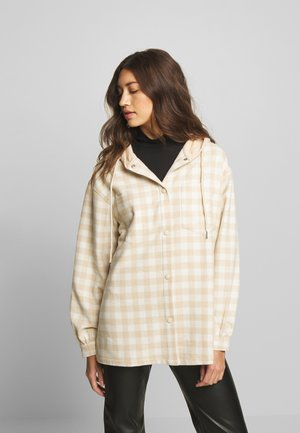 BRUSHED HOODED SHACKET - Summer jacket - beige