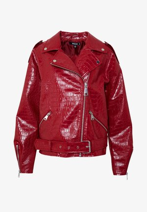 CROC BOYFRIEND BIKER - Faux leather jacket - red