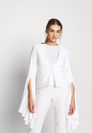 COLLARLESS FLARE SLEEVE JACKET - Żakiet - white