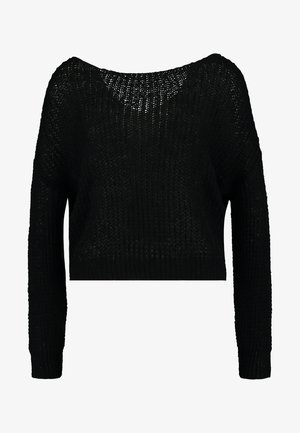FLUFFY YARN TWIST BACK JUMPER - Strikkegenser - black