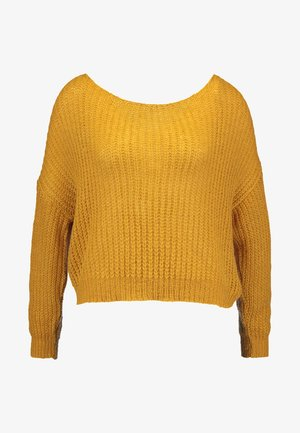 FLUFFY TWIST BACK JUMPER - Jumper - mustard