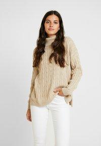 Missguided - CABLE ROLL NECK JUMPER - Jersey de punto - stone - 0