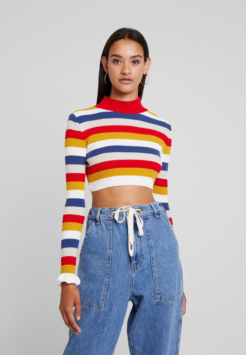 Missguided - STRIPED CROP JUMBER WITH FRILL CUFFS - Strickpullover - red