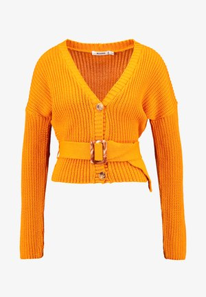 SHORT BELTED CARDIGAN - Cardigan - orange