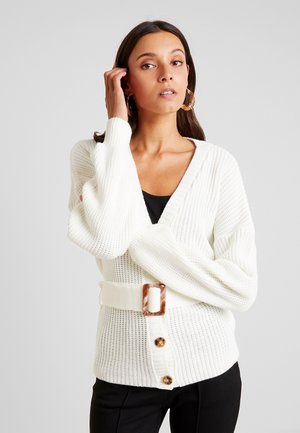 BELTED BUCKLE BALLOON SLEEVE CARDIGAN - Vest - cream