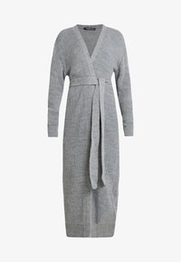 Missguided - MAXI BELTED CARDIGAN - Cardigan - grey