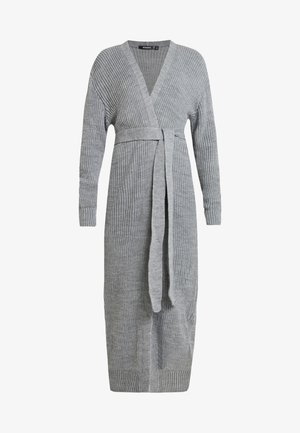 MAXI BELTED CARDIGAN - Gilet - grey