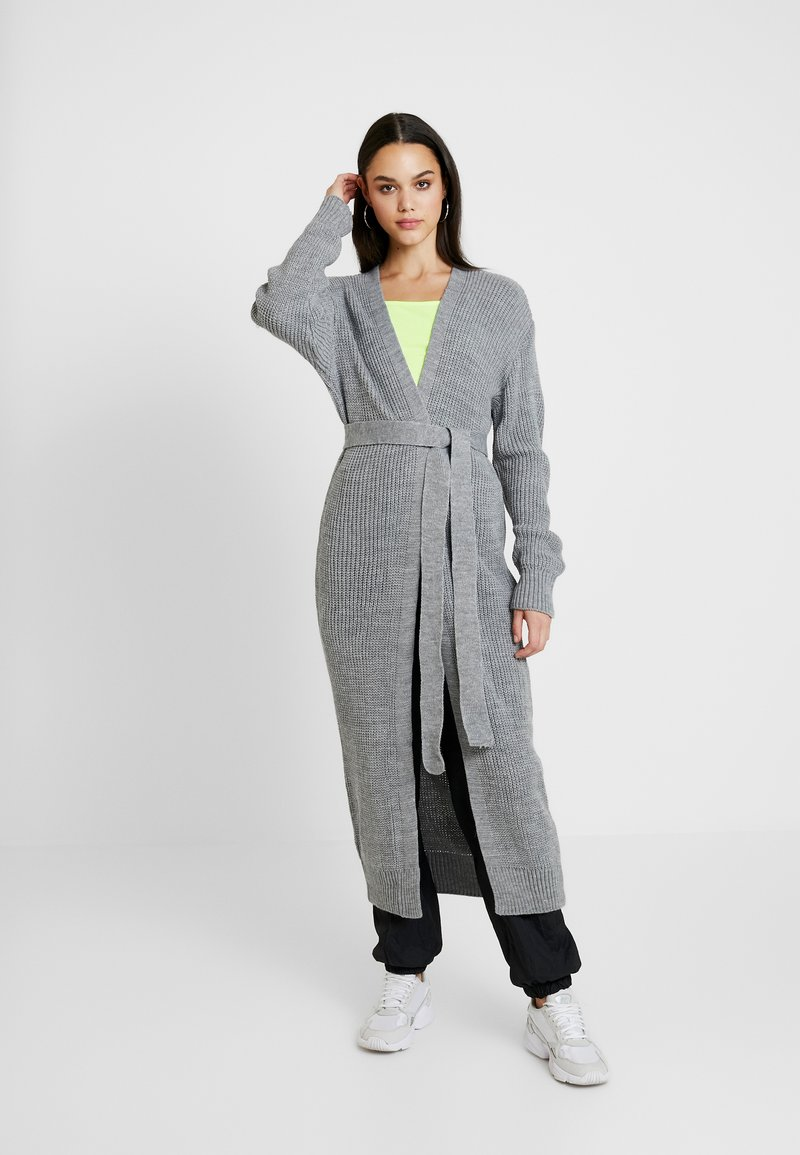 Missguided - MAXI BELTED CARDIGAN - Strickjacke - grey
