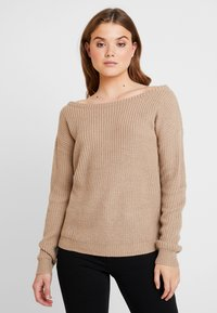 Missguided - OPHELITA OFF SHOULDER JUMPER - Maglione - taupe - 0