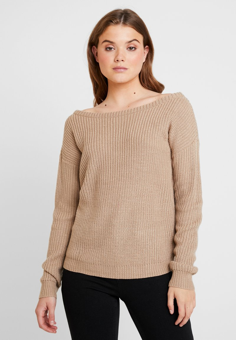 Missguided - OPHELITA OFF SHOULDER JUMPER - Maglione - taupe