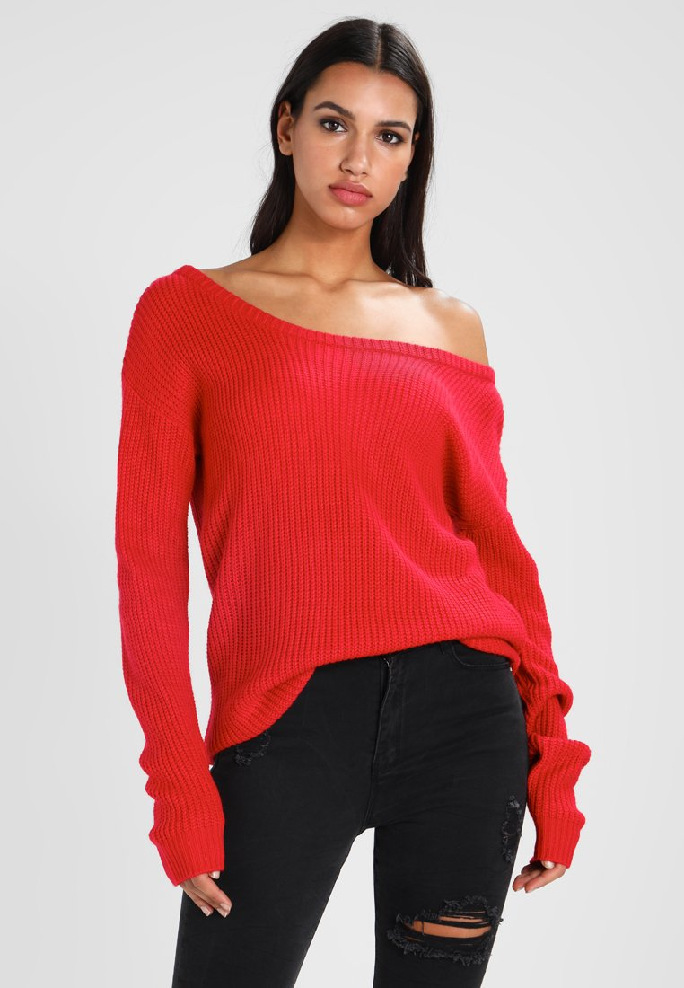 Missguided - OPHELITA OFF SHOULDER JUMPER - Jersey de punto - bright red