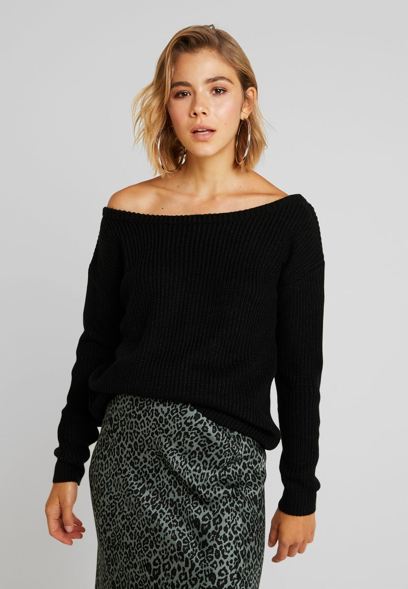 Missguided - OPHELITA OFF SHOULDER JUMPER - Strikkegenser - black