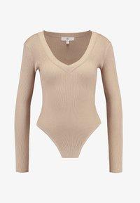 Missguided - PLUNGE V NECK BODY - Stickad tröja - sand - 4