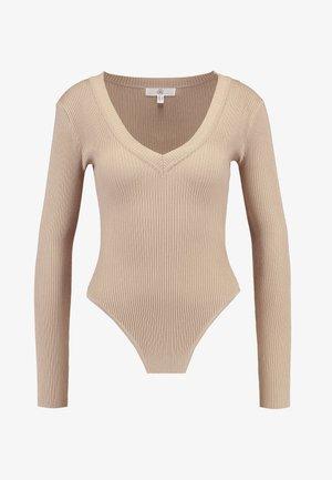 PLUNGE V NECK BODY - Stickad tröja - sand