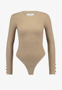 Missguided - BUTTON CUFF CREW NECK BODY - Pullover - sand - 4