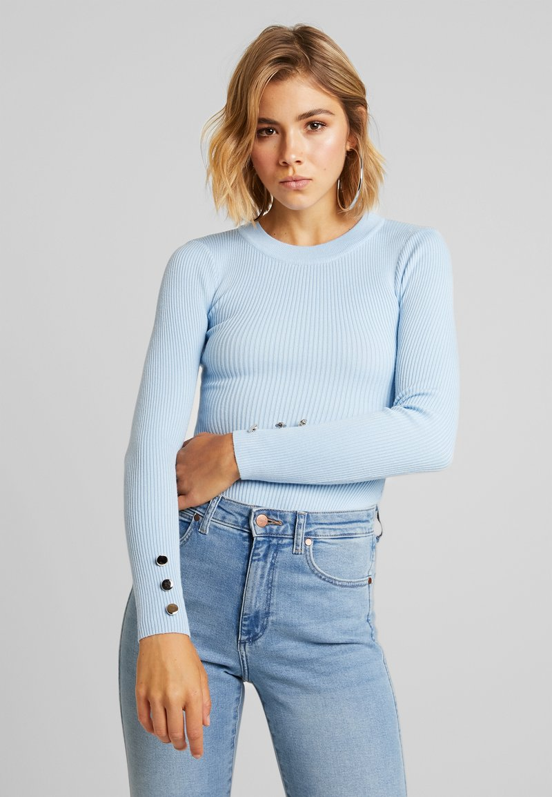 Missguided - BUTTON CUFF CREW NECK BODY - Svetr - light blue