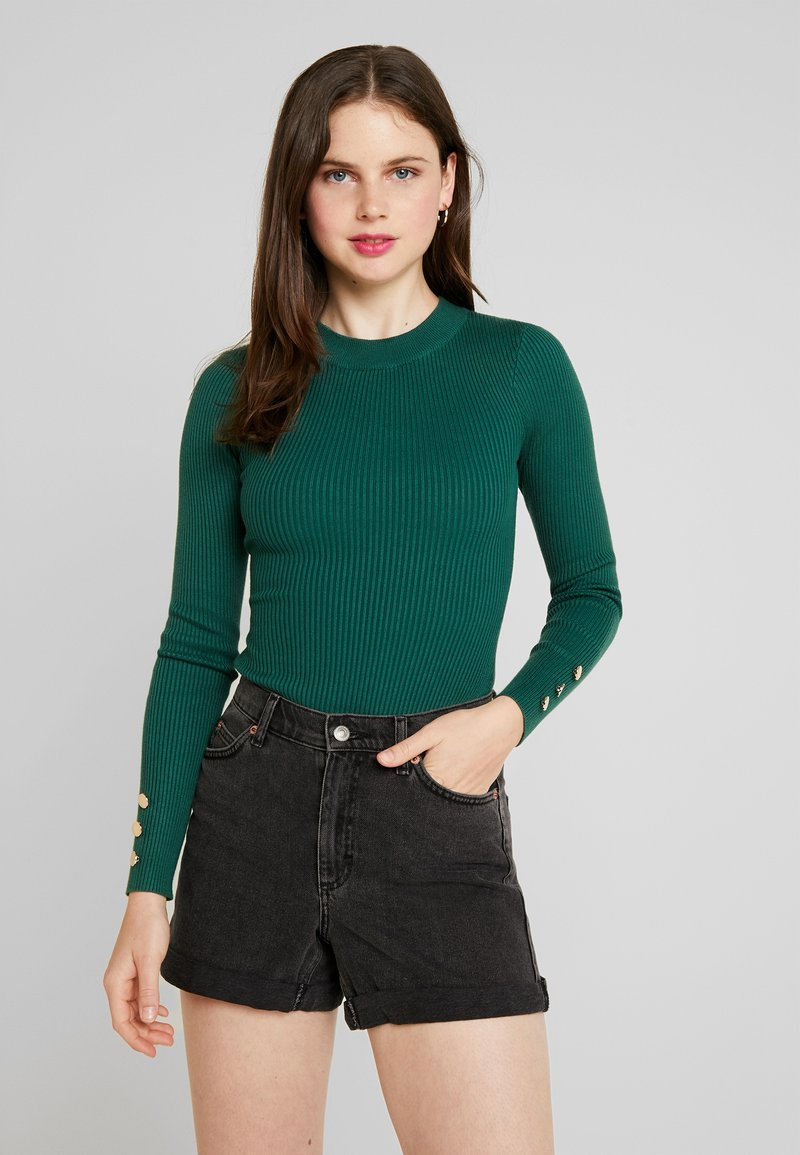 Missguided - BUTTON CUFF CREW NECK BODY - Svetr - forest green