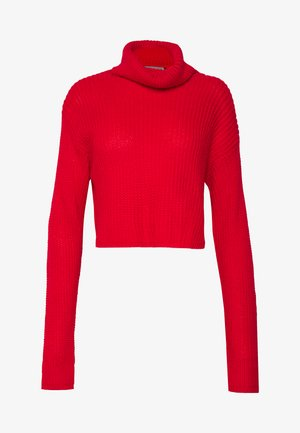 ROLL NECK CROP JUMPER - Jumper - red