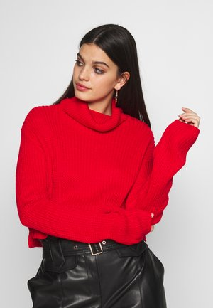 ROLL NECK CROP JUMPER - Strikkegenser - red