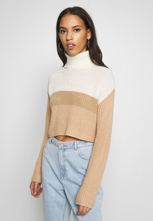 CROPPED ROLL NECK COLOURBLOCK - Trui - neutral/white/stone
