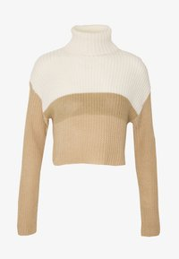 Missguided - CROPPED ROLL NECK COLOURBLOCK - Trui - neutral/white/stone