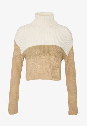 CROPPED ROLL NECK COLOURBLOCK - Jumper - neutral/white/stone