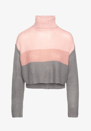CROPPED ROLL NECK COLOURBLOCK - Svetr - stone/rose/charcoal