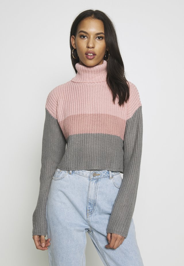 CROPPED ROLL NECK COLOURBLOCK - Jumper - stone/rose/charcoal
