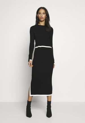 SET RIBBED CONTRAST HEM JUMPER AND MIDAXI SKIRT CO-ORD - Falda de tubo - black