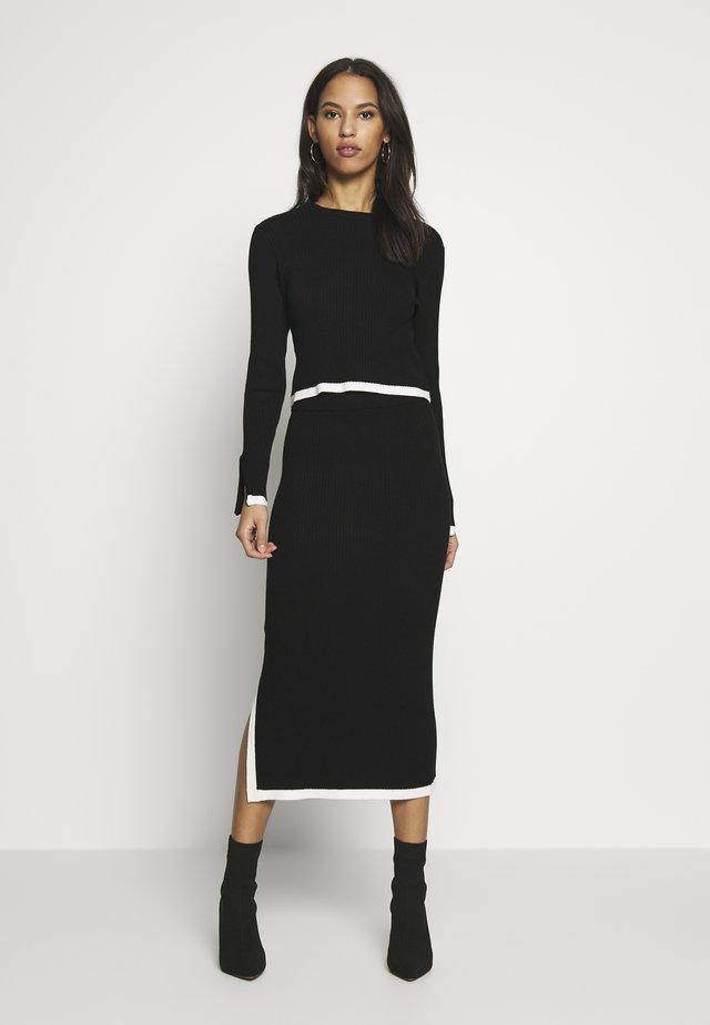 SET RIBBED CONTRAST HEM JUMPER AND MIDAXI SKIRT CO-ORD - Pencil skirt - black