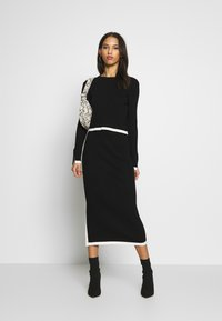 Missguided - SET RIBBED CONTRAST HEM JUMPER AND MIDAXI SKIRT CO-ORD - Pencil skirt - black - 1