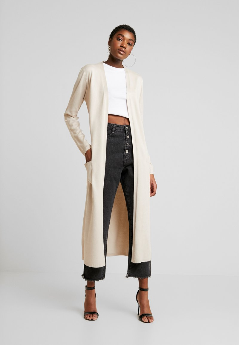 Missguided - LONGLINE CARDIGAN WITH POCKETS  - Cardigan - sand