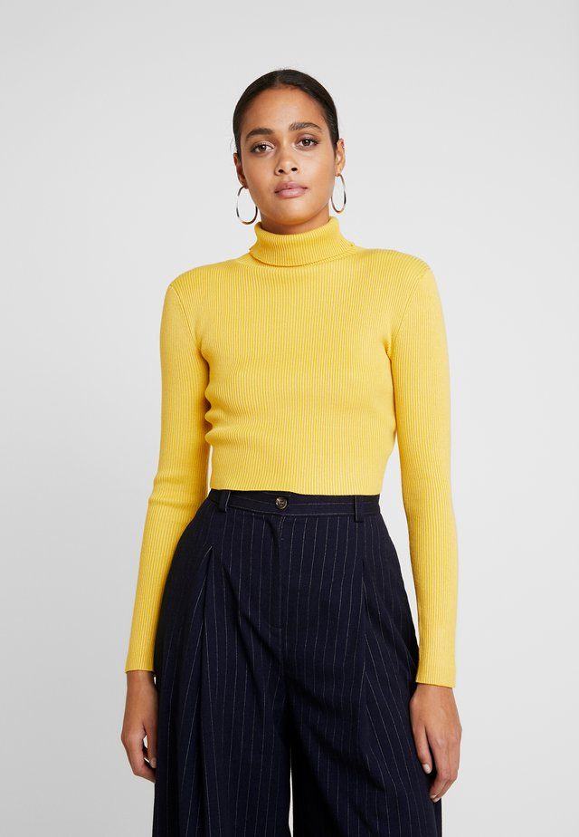 ROLL NECK CROP JUMPER - Jumper - mustard