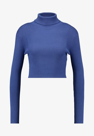 ROLL NECK CROP JUMPER - Pullover - navy