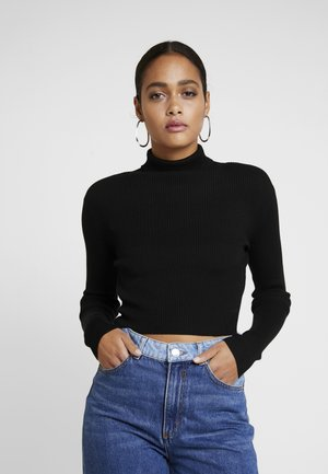 ROLL NECK CROP JUMPER - Strickpullover - black