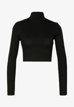 BASIC HIGH NECK DETAIL KNITTED CROP - Maglione - black